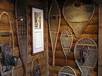 Snowshoe exhibit in Winter Sports Museum.